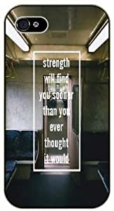 Strenght will find you sooner than you eve thought - Empty seats - Bible verse iPhone 4/ 4s black plastic case / Christian Verses