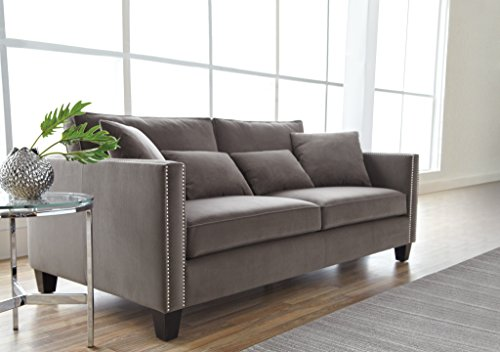 Sunpan Modern Cathedral Sofa with Grey Fabric
