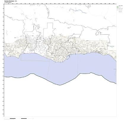 Santa Barbara California Map.Amazon Com Santa Barbara Ca Zip Code Map Laminated Home Kitchen