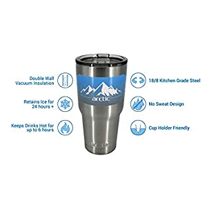 Arctic Tumblers 30 oz Cup with Straw - Stainless Steel Coffee Mug -Camping & Travel Tumbler - Double Wall Vacuum Insulated Thermos- 30 oz Coffee Tumbler with Gift Box