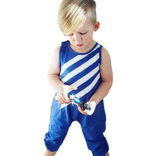 Vibola Toddler Baby Clothes Boy Blue Striped Jumpsuit