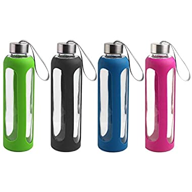 Estilo Glass Water Bottles 20 Oz, Stainless Steel Cap with Protective Silicone Sleeve - Set of 4 (Green, Black, Blue, Pink)