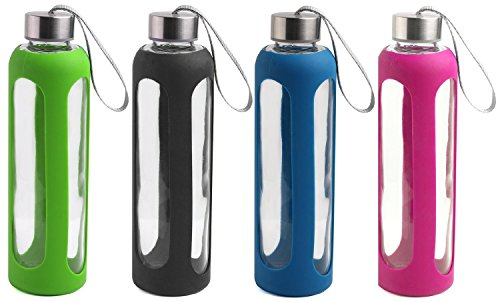 Estilo Glass Water Bottles 20 Oz, Stainless Steel Cap with Protective Silicone Sleeve - Set of 4 (Green, Black,...