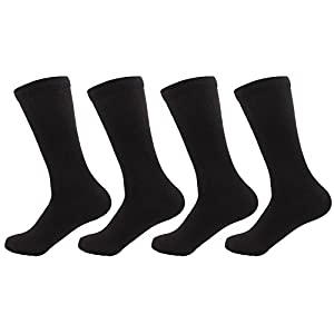 BambooMN - Men's Extra Large Rayon from Bamboo Fiber Socks - Black - 4prs, Size 10-14