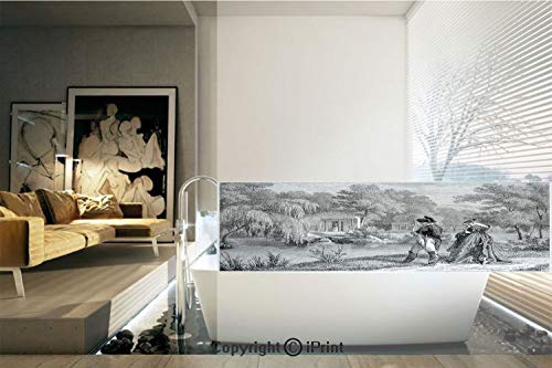(Decorative Privacy Window Film/Historical French Revolution Sketch with Napoleon and Woman in Garden Artwork/No-Glue Self Static Cling for Home Bedroom Bathroom Kitchen Office Decor Dark Grey Black)
