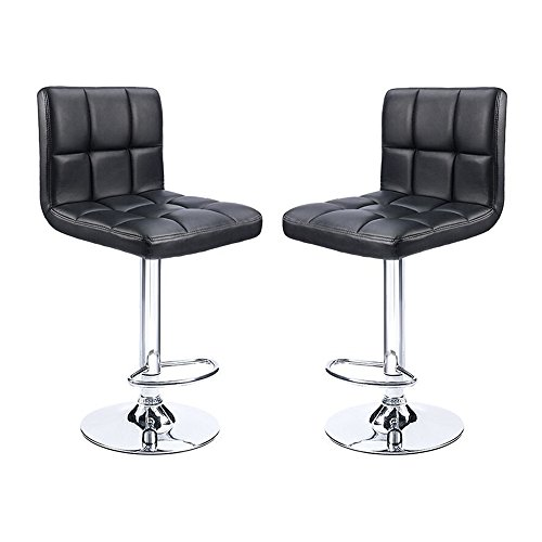 Swivel Black PU Leather Bar stool, Stainless Steel Strut And Pedestal, Adjustable Counter Height Bar Stool Chair, New fashion Bar Stools, Set of 2(Black) For Sale