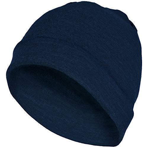 MERIWOOL Unisex Merino Wool Cuff Beanie Hat - Navy - Merino Knit Hat