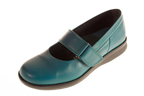 Easy b DB Florence Ladies Leather Touch Fastening Casual Shoe In 2E, 4E, 6E and 8E Fittings Teal Leather