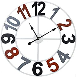 Sorbus Wall Clock, 24 Round Oversized Chunky Number, Arabic Numeral Style Clock Home Décor, Quartz Battery-Operated, Wood Metal