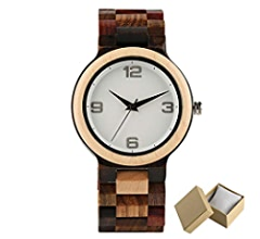 Amazon.com: Handmade Red Maple Wooden Watch Men Minimalism Mix Colorful Wood Band Casual Watches Male Gifts Arrival 1 With Box: Beauty