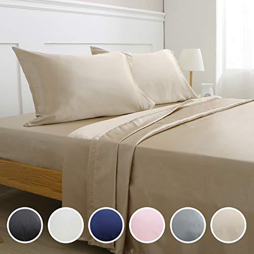 (Vonty Satin Sheets King Taupe Silky Satin Sheet Set, Deep Pocket Fitted Sheet + Flat Sheet + Pillowcase Bedding Set 4pcs)