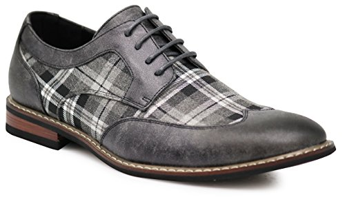 Leather Shoes Plaid (Titan03 Men's Spectator Tweed Plaid Two Tone Wingtips Oxfords Perforated Lace up Dress Shoes (10 D(M) US, Gray))