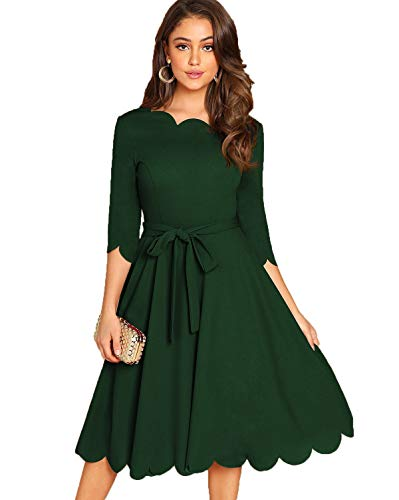 Milumia Women's Elegant 3/4 Sleeve Scallop Belted Fit Flare Party Cocktail Dress Dark Green