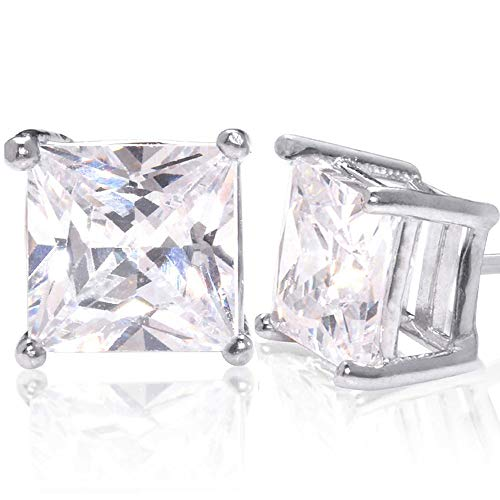 Square Princess Cut 15mm white Cubic Zirconia .925 Sterling Silver Basket Setting Unisex Stud Earrings
