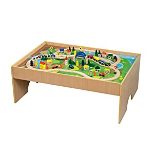 All Aboard Wooden Train Table Amazon Co Uk Toys Amp Games