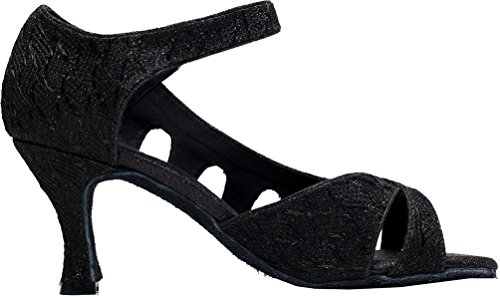 Abby Q-6209 Femmes Tango Latin Cha-cha Salle De Bal Chaton Talon Peep-toe Pu Chaussures De Danse Noir