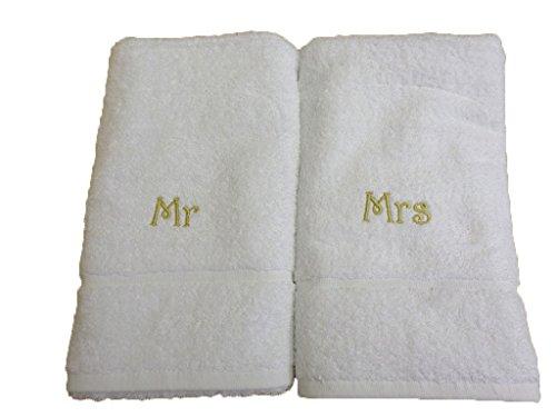 Regalos de boda - novia, novio, Just Married, Mr & Mrs - Toallas, diferentes tamaños, White, Black, Aqua, Cream, Chocolate, Navy Blue, Sky Blue, ...