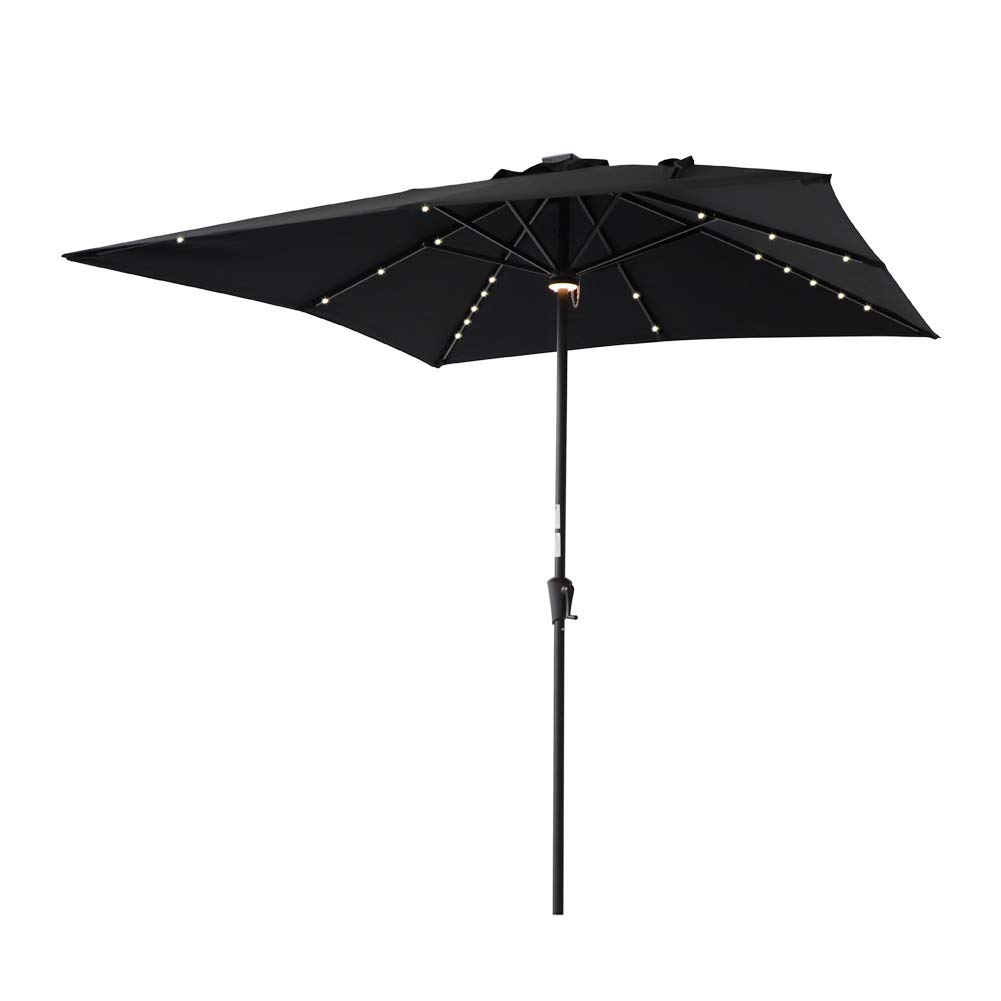 C-Hopetree Lighted Outdoor Patio Sun Shade Umbrella 7feet 6inch Square Aluminum with Crank Winder Black