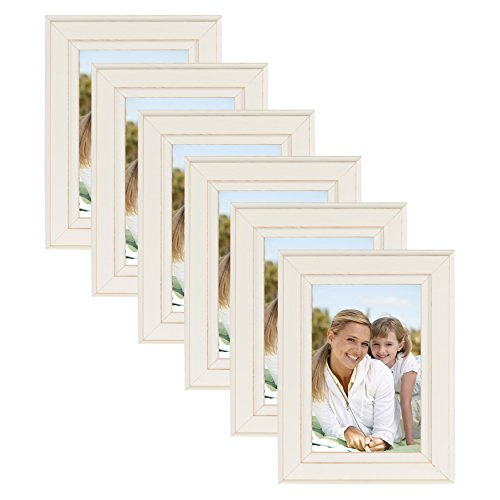 DesignOvation Kieva Solid Wood 4x6 Picture Frame, Distressed Soft White, Pack of 6 ()