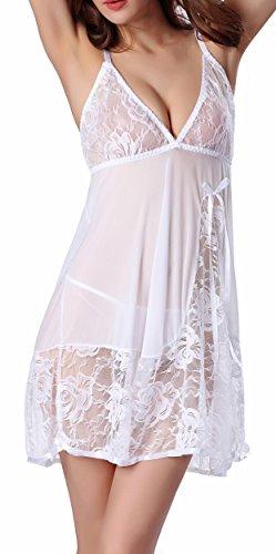 Blidece Women Lace Lingerie Strap Semi-Sheer Babydoll Polyeater Teddy Patchwork Sleepwear Set White S