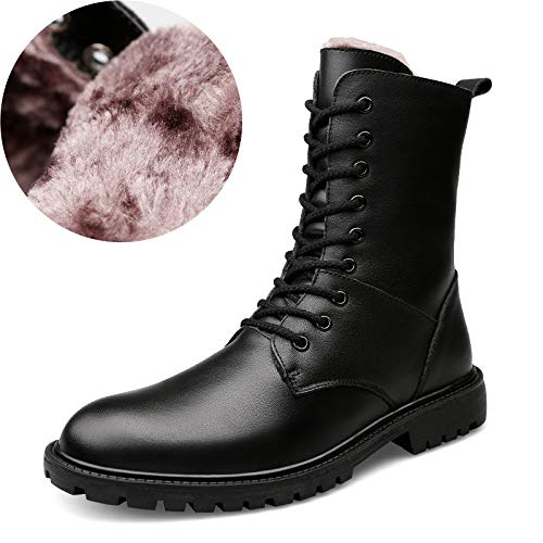 HGDR Uomini In Pelle Nera High-top Tattici Militari Desert Boots Sport All'aria Aperta Campeggio Escursionismo Lace Up Boots Combat Pattuglia Di Sicurezza Polizia Scarpe Stivali Black02
