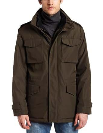 MICHAEL Michael Kors Mens Polyester Bonded Field Coat, Olive Branch, Medium