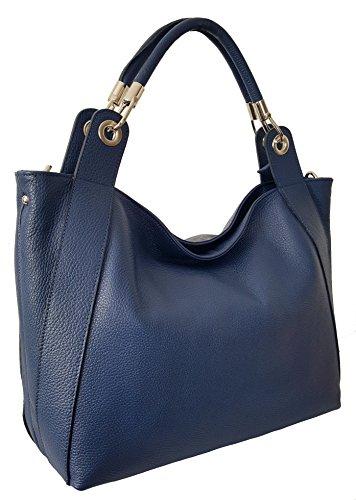 Sa Lucca echt Leder Handtasche Shopper Schultertasche Damentasche Blau