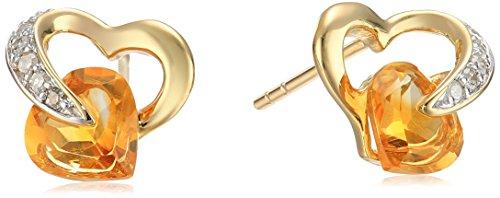 And Earrings Diamond Citrine (10k Yellow Gold Citrine Diamond Heart Earrings (1/12 cttw, I-J Color, I2-3 Clarity))