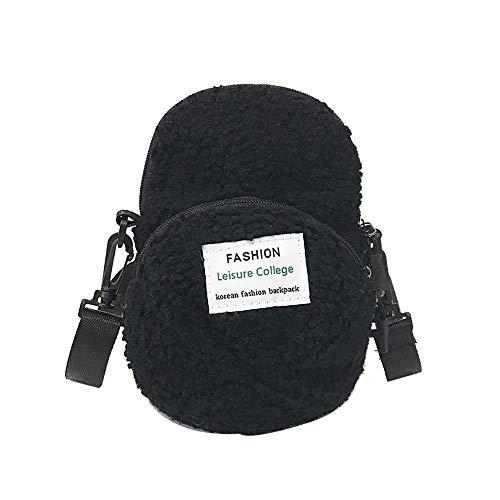 Sacs À Unie Sanfashion Nylon Sac Femme Fermeture Double sac Dos Style Collège Noir En Glissière EwEdqg