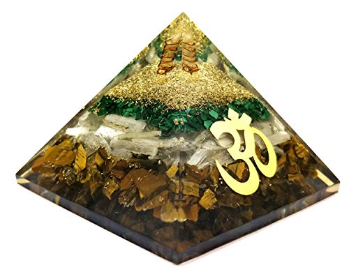Orgone Pyramid - Tiger Eye Crystal for Orgone Energy Generator - Orgonite Pyramids for Emf Protection - Healing Crystal - Chakra Crystal - Om Symbol for Meditation - Realcrystalstore ()