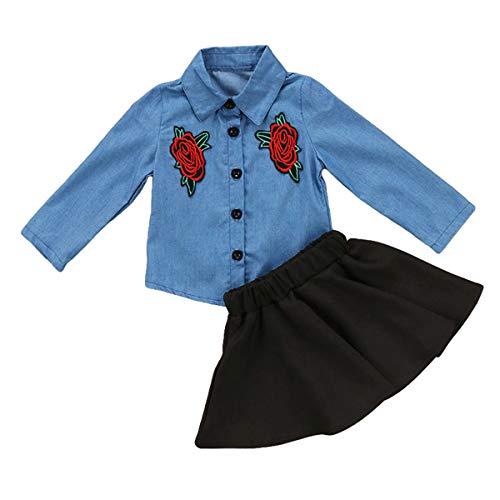 GRNSHTS Baby Girls Cowboy Skirt Set Flower Applique Blue Jean Shirt + Skirt (90/12-18 Months, Jean Shirt + Black Skirt)