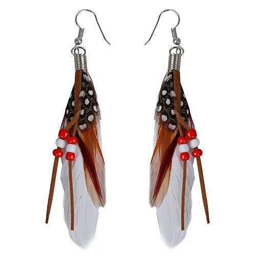 1 paire de pendentif dвЂoreilles de perle plumes indiennes du style exotique -