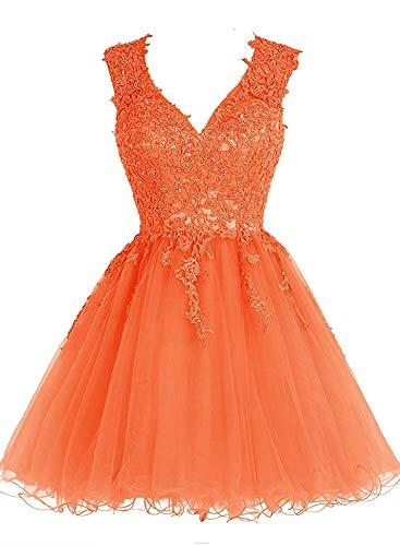 mia Mini Partykleider Festlichkleider Kurzes Orange Grau Promkleider Abendkleider La Ballkleider Spitze Braut dUIwfqf