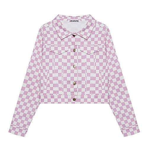 Women's Classic Casual Vintage Button Down Long Sleeve Checkerboard Cropped Jacket with Pockets Streetwear Checkered Plaid Crop Top (S, ()