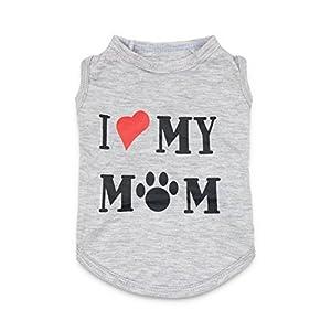 DroolingDog Dog Clothes Puppy Shirts I Love My Mom Shirt Dog Costume, XL, Grey