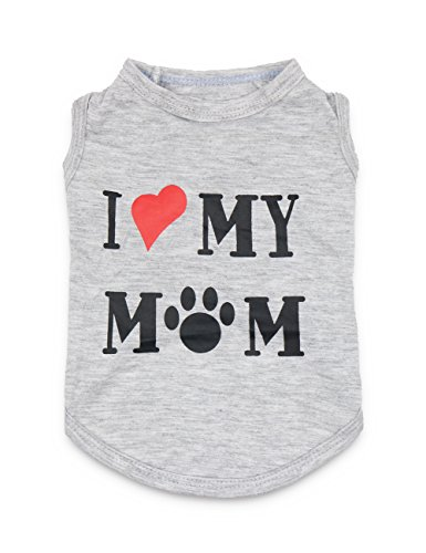 DroolingDog Dog Clothes Puppy Shirts I Love My Mom Shirt Dog Costume, XS, Grey