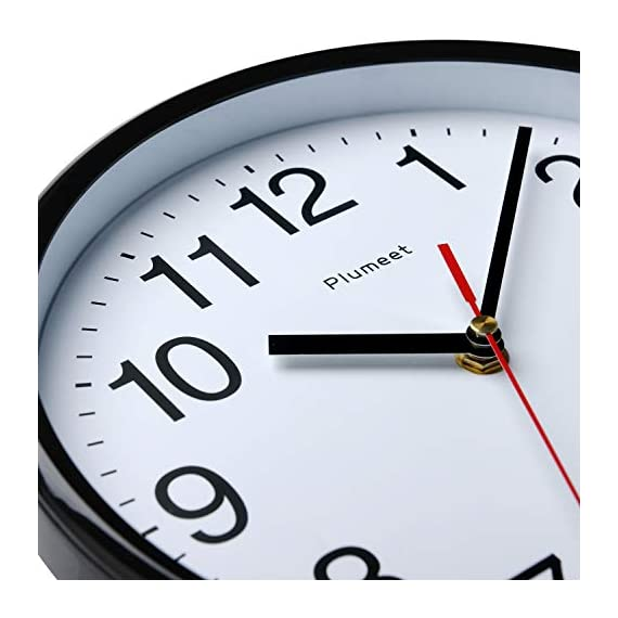 """Plumeet Silent Wall Clock - 10"""" Non Ticking Quartz Black Wall Clocks - Simple Design Wall Clocks for Living Room Decor - Battery Operated (White Face) - Non Ticking -- Precise quartz movements to guarantee accurate time, quiet sweep second hand ensure a good sleeping and work environment. Easy to Read -- Silent wall clocks with traditional numbers are clear to read, front glass cover guarantees perfect view. Concise Style -- Simple and elegant modern style can meet your all decorative need for home/school /office. - wall-clocks, living-room-decor, living-room - 41K3qaLVSUL. SS570  -"""