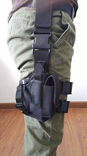 (NEW Tactical Right Hand Paddle Leg Belt Thigh Hard Drop Holster for Glock 19 with Mag Pouch)
