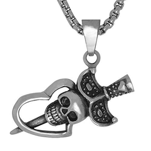 - ANAZOZ Stainless Steel Men Pendant Necklace Black Heart Skull Style Pendant 28.5x49MM