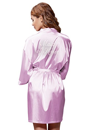 Lavender Rhinestone - Turquaz Linen Satin Kimono Rhinestone Maid of Honor Robe (Small/Medium, Lavender)