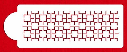 Designer Stencils C495 Contemporary Lattice Cake Stencil Side, Beige/semi-transparent