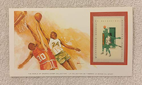 Basketball - The World of Sports - Postage Stamp & Commemorative Art Panel - Franklin Mint (1982) - Uruguay