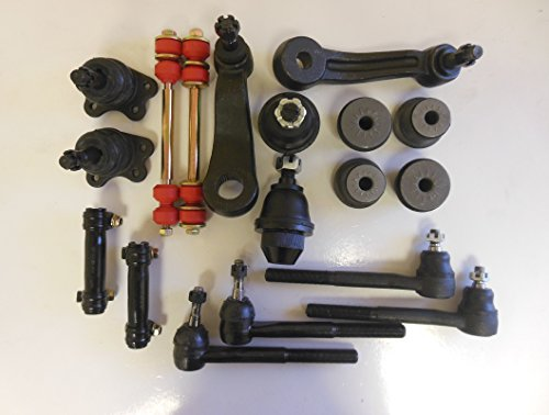 Chevrolet K3500 Ball Joint - Kit of 18 Pcs. Aftermarket 2 Inner 2 Outer Tie Rod End 2 Upper 2 Lower Ball Joint 1 Pitman 1 Idler Arm 4 Upper bushing 2 Adjust. Sleeve 2 Sway bar links 4WD vehicles