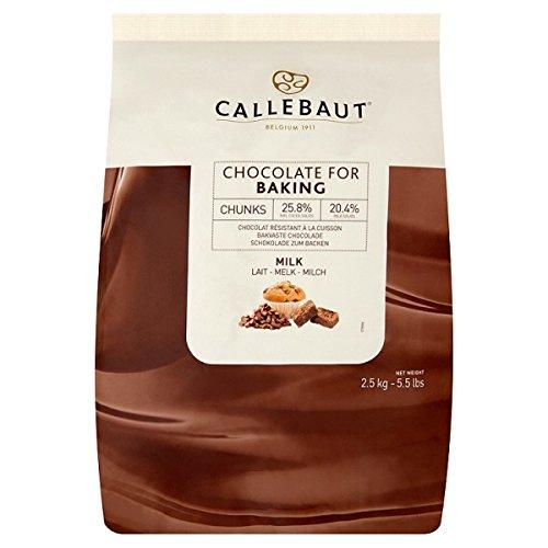 Callebaut Chocolate con leche para hornear Trozos de 2,5 kg (paquete de 2