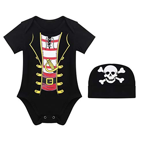 iiniim Baby Boys Funny Pirate Halloween Costumes Bodysuit with Hat Party Fancy Dress up Outfit Clothes Black 0-6 Months ()
