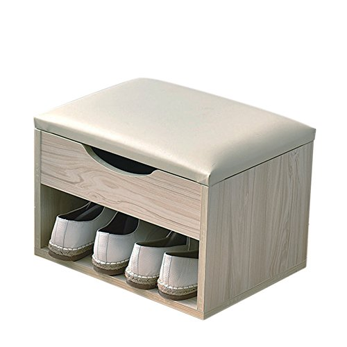Raumeyun Upholstered Foot Stool Ottoman and Wooden Storage Drawer on Top,Wood-Grain ()