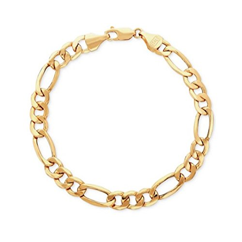 BH 5 Star Jewelry 14kt 8.5'' Yellow Gold 7.0mm Diamond Cut Alternate 3+1 Classic Figaro Chain wit h Lobster Clasp by BH 5 Star Jewelry