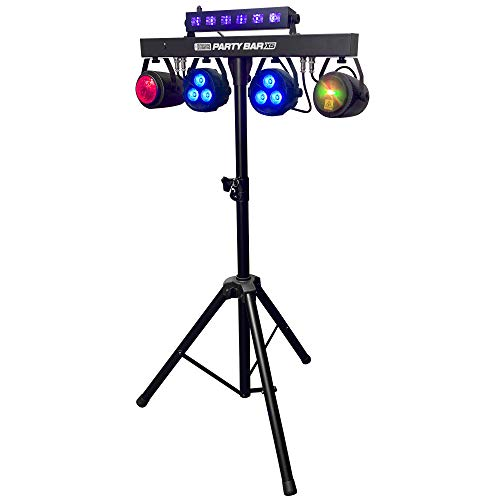 Party Bar X5 - LED DJ Lighting - Stage Lighting - GigBar - Includes Stand, 2 Pars, 2 Effect Lights, Black Light Bar, Strobe and a Remote Control (Lights For Dj Equipment)