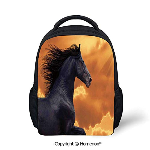 (3D Portrait of Galloping Frisian Horse with Warm Hot Sun Rays Intensity Honor Grace Theme Printing Children School Bags Campus Student Bookbags,(12.2