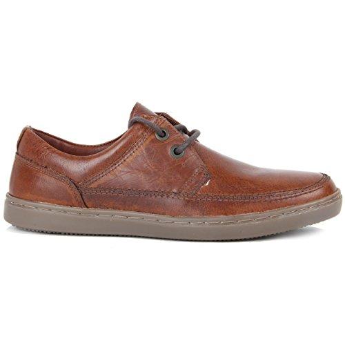 Herren Braun Freizeitschuhe, Leder Komfort Schnürer Cool Deck Schuhe Braun